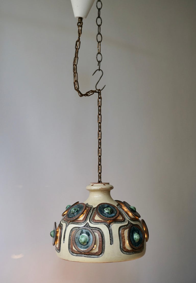 Handmade Danish Ceramic Pendant Light by Jette Hellerøe for Axella, 1970s For Sale 4