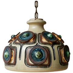 Handmade Danish Ceramic Pendant Light by Jette Hellerøe for Axella, 1970s