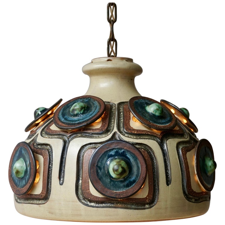Handmade Danish Ceramic Pendant Light by Jette Hellerøe for Axella, 1970s For Sale