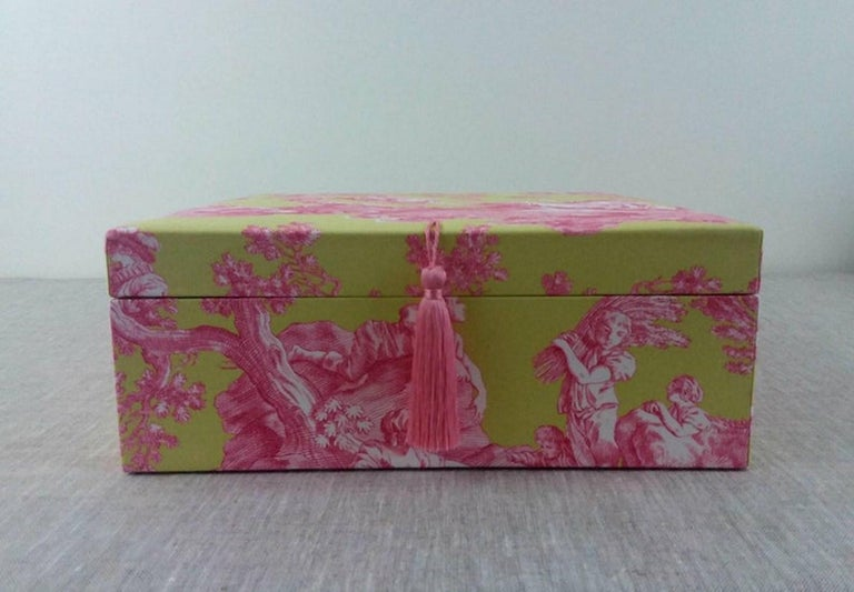 Beautiful storage Box, Perfect for storing your scarves  Exclusively handmade in France, with wooden cardboard and covered with a beautiful Jouy canvas