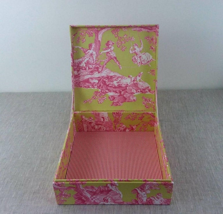 Brown Handmade Decorative Storage Box for Scarves in Toile de Jouy Manuel Canovas