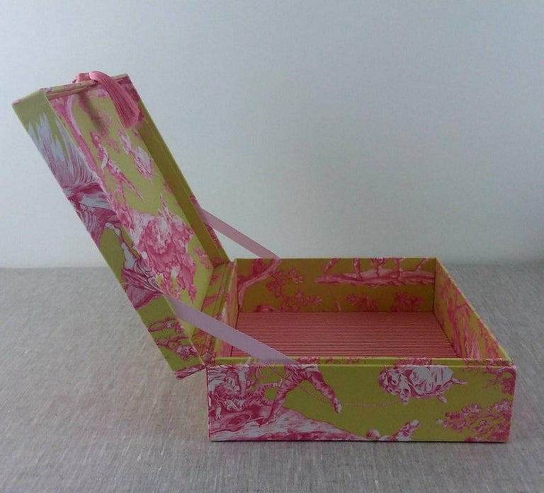 Handmade Decorative Storage Box for Scarves in Toile de Jouy Manuel Canovas In New Condition In ., FR