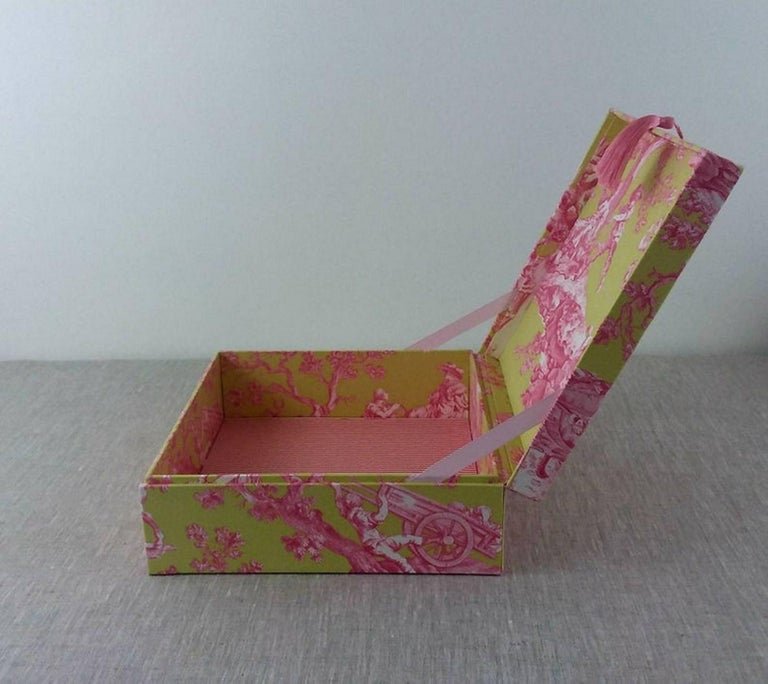 Women's or Men's Handmade Decorative Storage Box for Scarves in Toile de Jouy Manuel Canovas