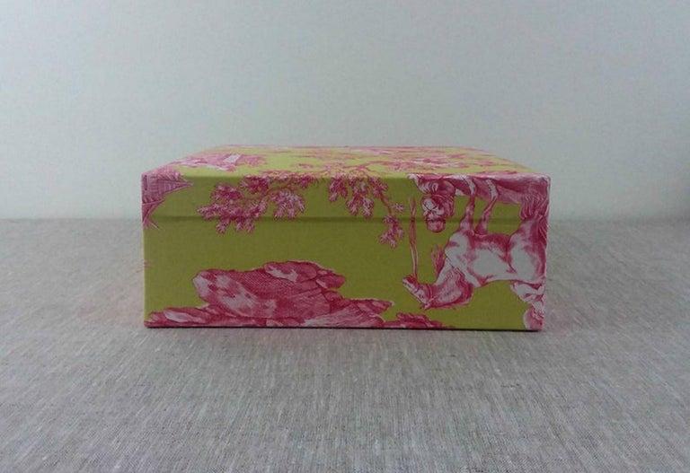 Handmade Decorative Storage Box for Scarves in Toile de Jouy Manuel Canovas 1