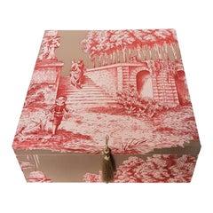 Handmade Decorative Storage Box for Scarves in Toile de Jouy Manuel Canovas