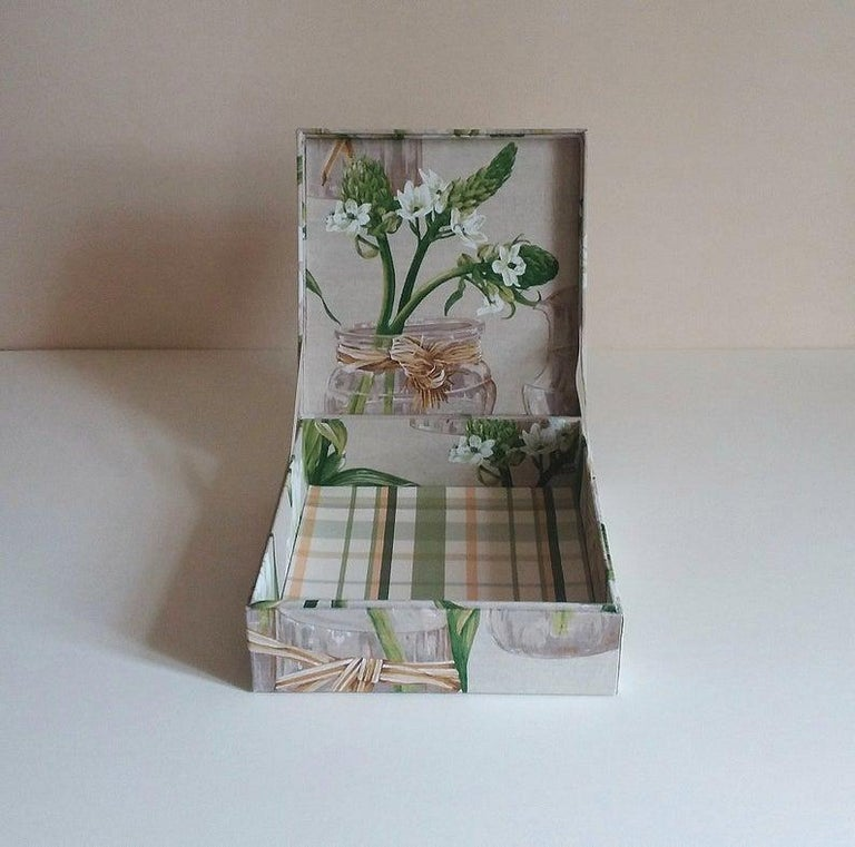 Handmade Decorative Storage Box for Scarves Linen Fabric by Manuel Canovas In New Condition For Sale In ., FR