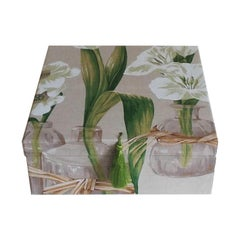 Handmade Decorative Storage Box for Scarves Linen Fabric by Manuel Canovas