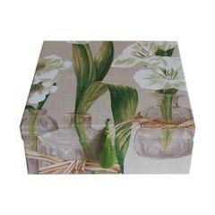 Handmade Decorative Storage Box for Scarves Linen Fabric by Manuel Canovas
