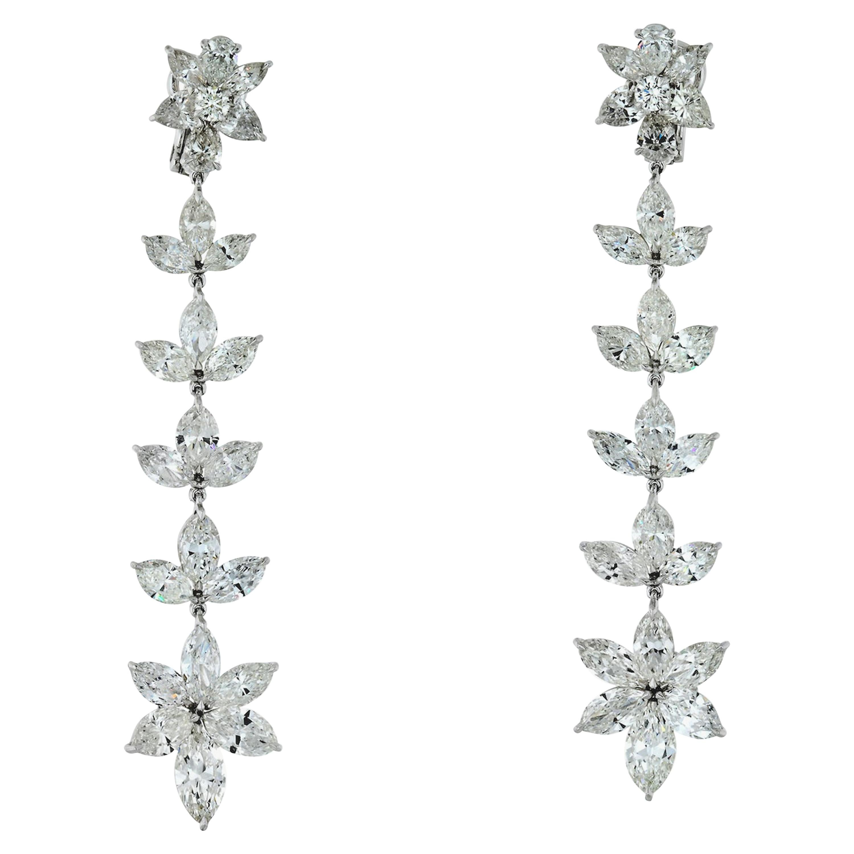 Handmade Diamond Drop 22.12 Carat Diamond Earrings