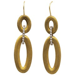 Handmade Diamond Earrings 18 Karat Gold 0.30 Carat