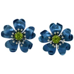 Diamond Peridot Blue Titanium Gold Happy Flower  Earrings