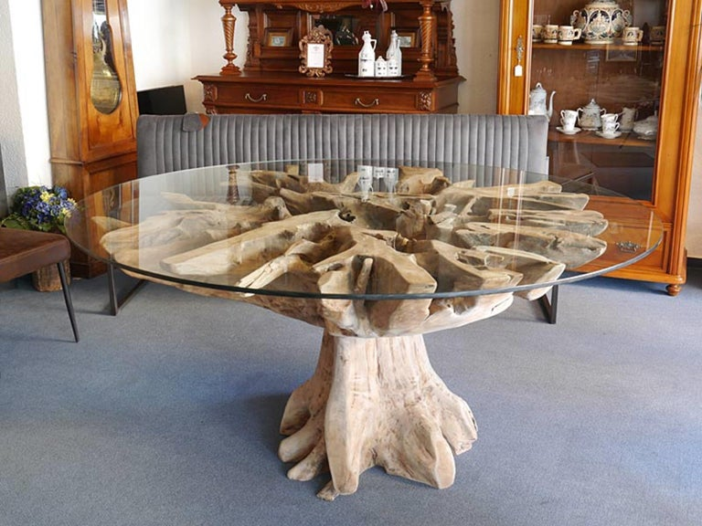Handmade Dining Table Made Of Burl And Glass For Sale At