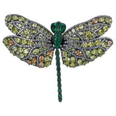 Handmade Dragonfly Multi-Color Cubic Zirconia Brooch Pin