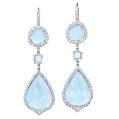 Handmade Drop Blue Topaz Slice Earrings