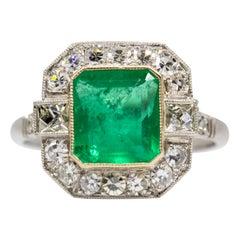 Handmade Emerald and French Cut Diamonds Platinum Ring