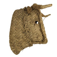 Handmade Esparto Grass Wall Mount Bulls Head