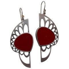 Handmade Exclusive Red Jasper Warrior Earrings by Metaalia Jewelry