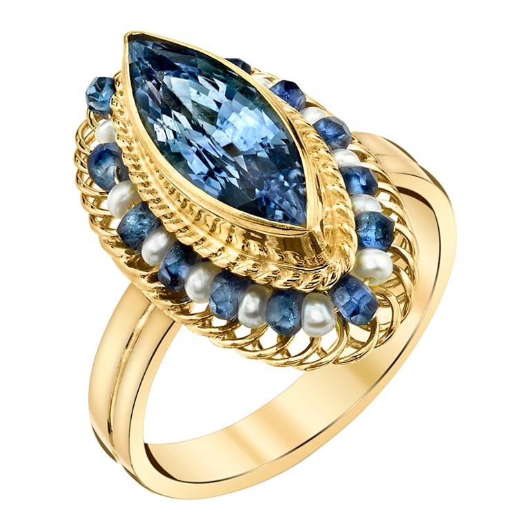 2.98 ct. Blue Sapphire Marquise, Seed Pearl, Yellow Gold Handmade Filigree Ring