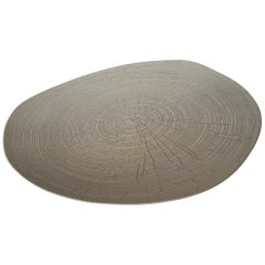 Handmade Fine Ceramic Grey Birch Motif Platter, Italy, Contemporary