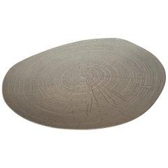 Handmade Fine Ceramic Grey Birch Motif Platter, Italy, Contemporary