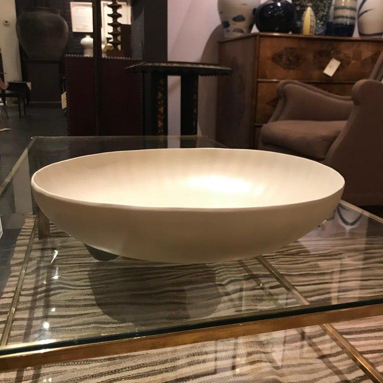 Hand-Crafted Handmade Fine Ceramic Linen Bowl, Italian, Contemporary For Sale