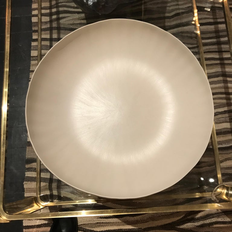 Handmade Fine Ceramic Linen Bowl, Italian, Contemporary In Excellent Condition For Sale In New York, NY