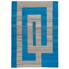 Handmade Flat-Weave Geometrical Design Blue and Gray Contemporary Kilim Rug