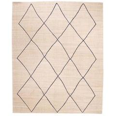 Handmade Flat-Weave, Geometrical Diamonds Beige and Blue Design Kilim Rug