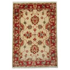 Handmade Floral Rug, Small Beige Carpet Oriental Wool Rug