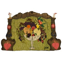 Handmade Folk Art Fruit Still Life Tapestry