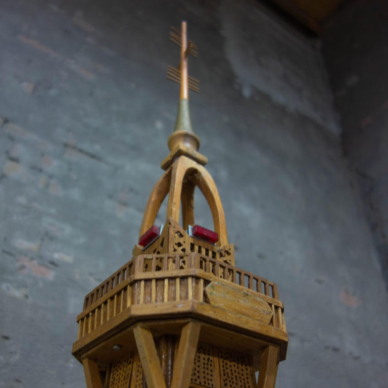 Hand-Crafted Handmade Folk Art Model of the Eiffel Tower, 1950 For Sale