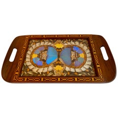 Handmade Folk Art Tray with Butterfly Collage and Inlay Wooden Details