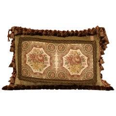 Handmade French Velvet Pillow with Floral Tapestry Fragment Medallion