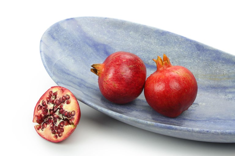 Handmade Fruit Bowl in Blue Azul Macaubas Contemporary Design by Pieruga Italy For Sale 2