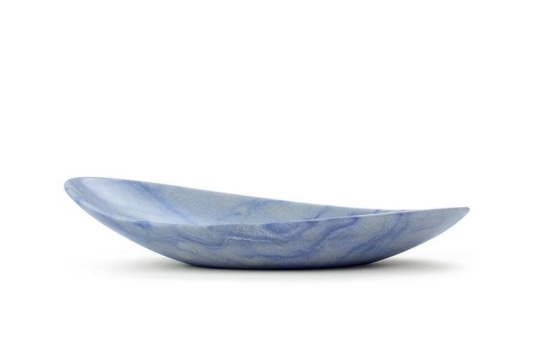 Italian Handmade Fruit Bowl in Blue Azul Macaubas Contemporary Design by Pieruga, Italy For Sale