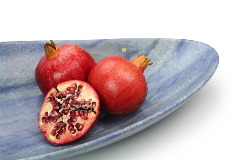 Handmade Fruit Bowl in Blue Azul Macaubas Contemporary Design by Pieruga Italy For Sale 1