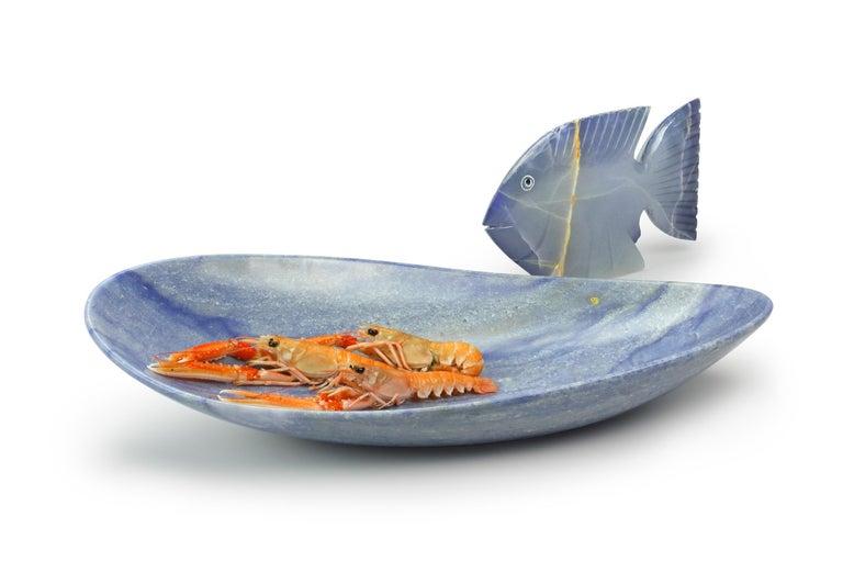 Quartz Handmade Fruit Bowl in Blue Azul Macaubas Contemporary Design by Pieruga, Italy For Sale