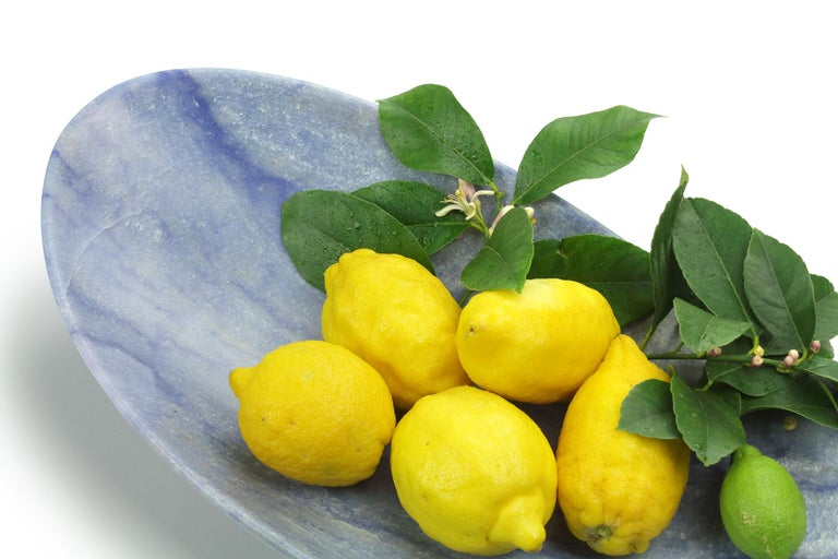 Modern Handmade Fruit Bowl in Blue Azul Macaubas Contemporary Design by Pieruga Italy For Sale