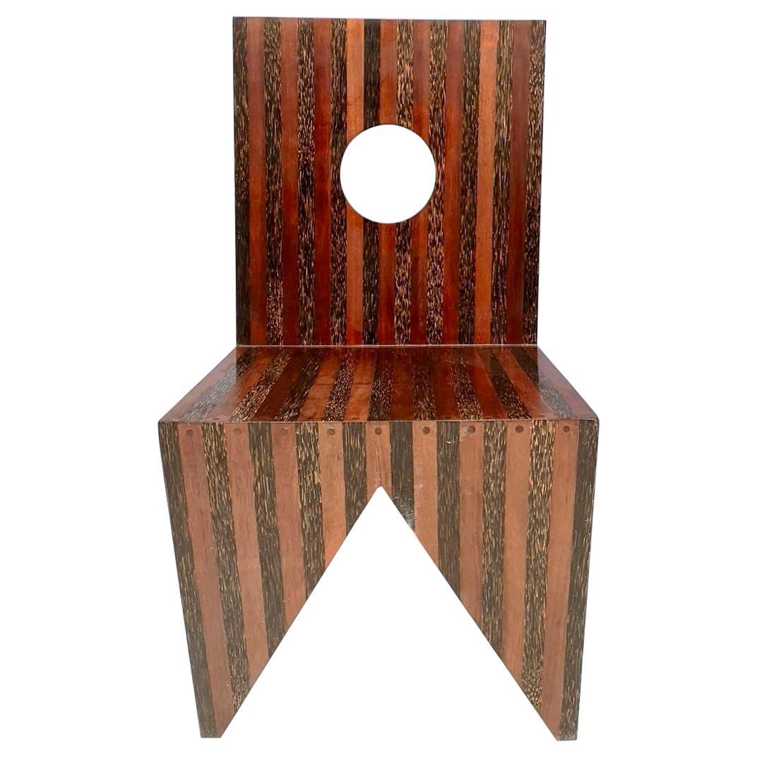Handmade Geometrical Solid Wood Side Chair, Italy, 1980s
