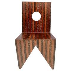 Handmade Geometrical Solid Mahogany Side Chair, Italy, 1980s