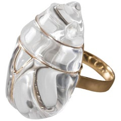 Handmade Glass and Gold Ring from Scarabeus Collection by Simone Crestani