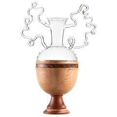 Handmade Glass and Wood Vase 'Minerva' by Simone Crestani & Giordano Viganò