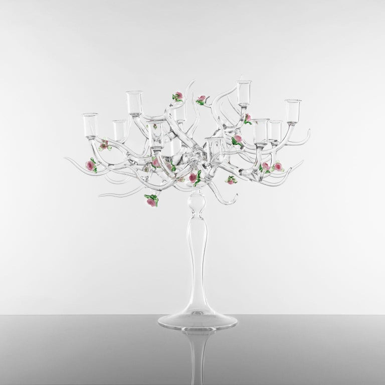 'Rose Candelabra 12' - handmade Glass Candelabra The base of a candelabra that changes idea and turns into a tree: a tangle of branches, flowers, and leaves of a flourishing rose garden that brings the beauty of transience into everyday life. The