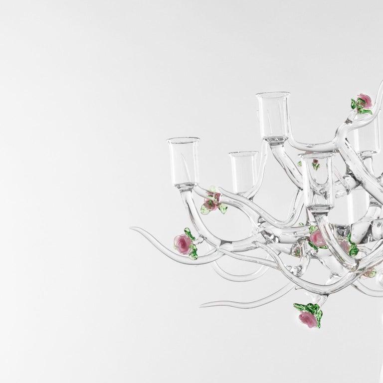 Modern Handmade Glass Candelabra 'Rose Candelabra 12' by Simone Crestani For Sale