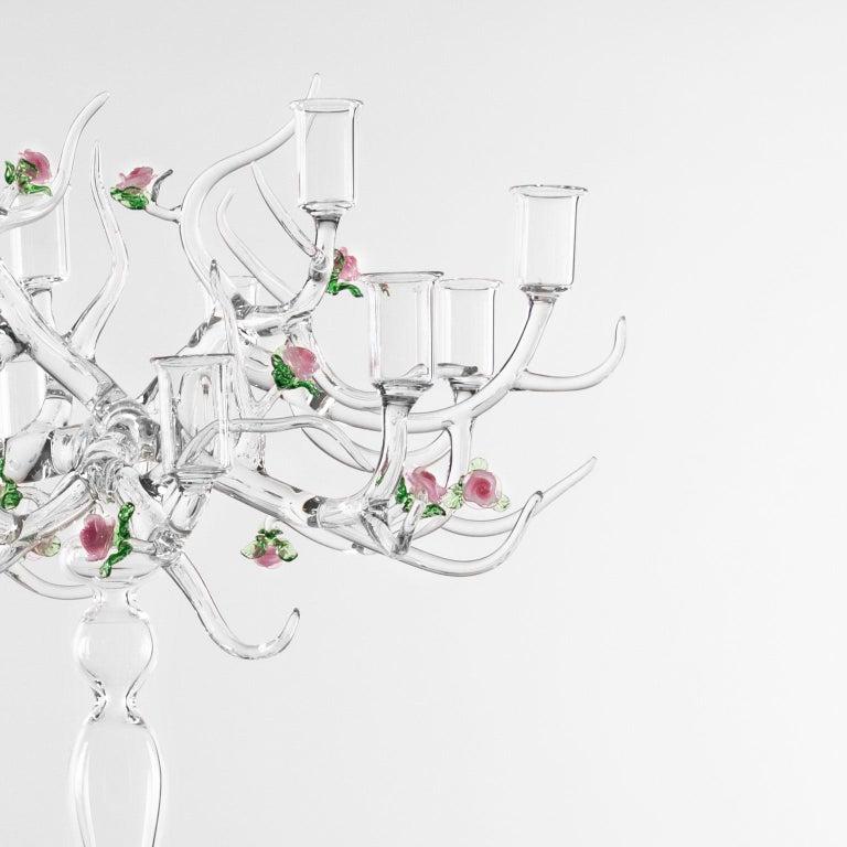 Italian Handmade Glass Candelabra 'Rose Candelabra 12' by Simone Crestani For Sale