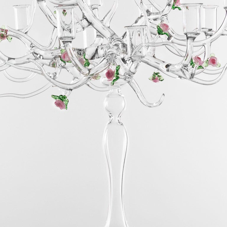 Other Handmade Glass Candelabra 'Rose Candelabra 12' by Simone Crestani For Sale
