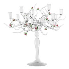 Handmade Glass Candelabra 'Rose Candelabra 12' by Simone Crestani