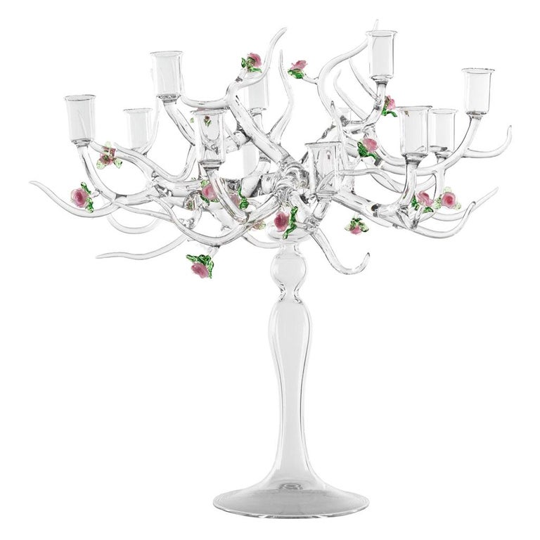 Handmade Glass Candelabra 'Rose Candelabra 12' by Simone Crestani For Sale