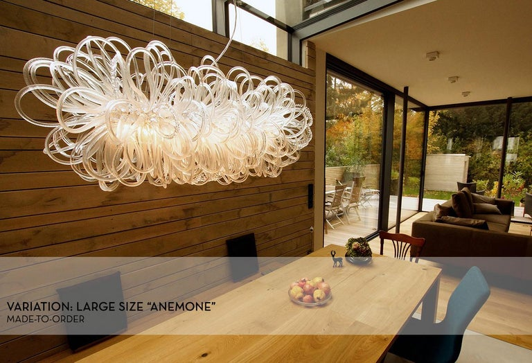 Modern Handmade Glass Chandelier with Loops 'Anemone' by German Artist R. Scholle For Sale