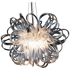 Handmade Glass Chandelier with Loops 'Anemone' by German Artist R. Scholle